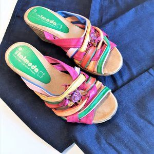 Vintage Multi Color Leather Strappy Wedge Sandals